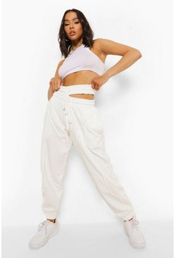 Oversized Split Waisted Joggers, Stone beis