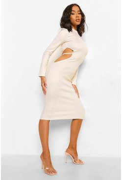 Cream Cut Out W Ofcl Branded Midi Dress