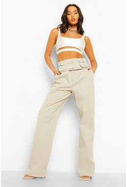 Stone beige Oversized Utility Trousers