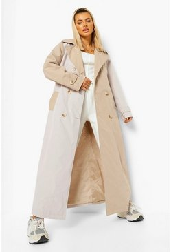 Stone beige Woven Colour Block Trench Coat