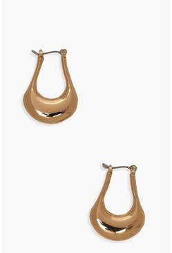Gold metallic Simple Tear Drop Hoop Earrings