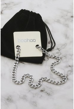 Silver Stainless Steel Curb Chain Necklace