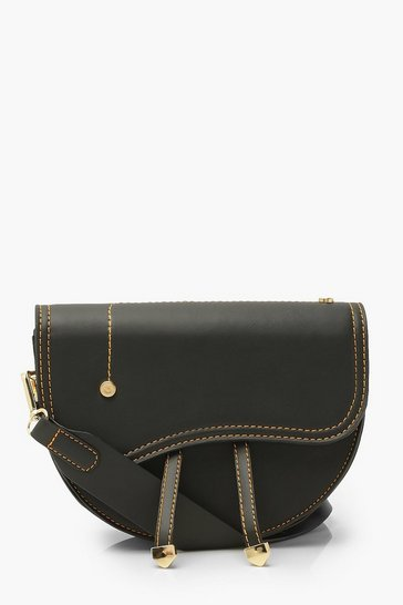 Black Satchel Cross Body Bag With Top Stitching