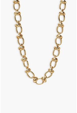Gold metallic Linked Knotted Chunky Chain Necklace