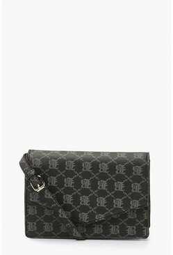 Black B Embossed Pu Cross Body Bag