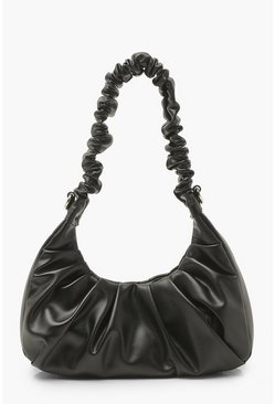 Black Ruched Top Handle Underarm Bag