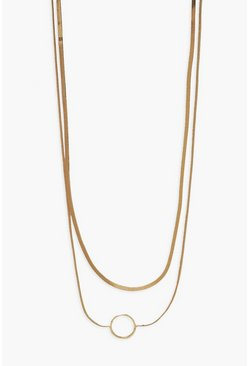 Gold metallic Openwork Disc Double Layered Necklace