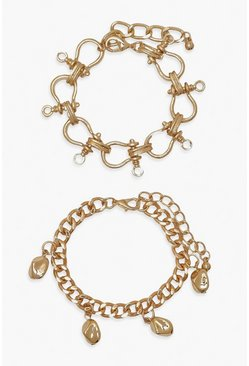 Gold metallic Chunky Multi Lock 2 Pack Bracelets