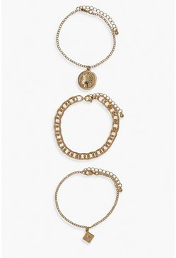 Gold metallic Coin And Snake Chain Bracelet Pack