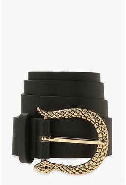 Black Textured Snake Buckle Belt