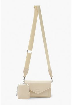 Cream white Ofcl Cross Body With Mini Bag