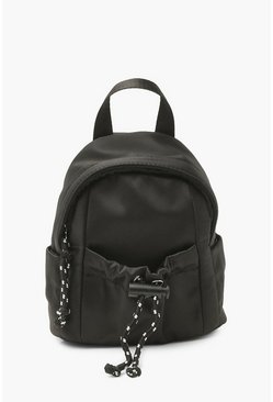 Black Front Toggle Mini Zip Up Rucksack