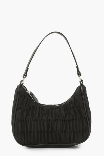 Black Nylon Ruched Zip Up Underarm Bag