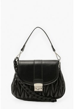 Black Front Buckle Chunky Handle Mini Cross Body