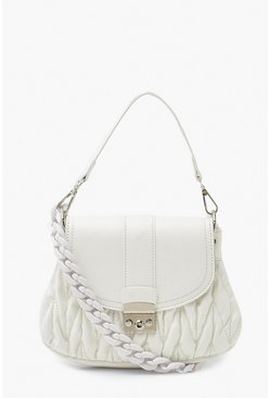 White Front Buckle Chunky Handle Mini Cross Body
