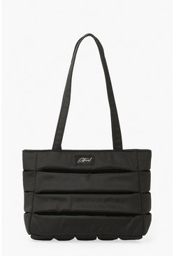 Official Nylon Quilted Tote Bag, Black nero