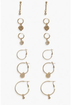 Gold metallic Celestial Hoop And Stud Earring 6 Pair Pack