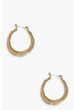 Gold metallic Cadged Hoop Earrings