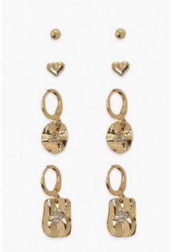 Hearts And Star Earring Pack , Gold metallizzato