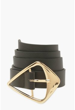 Black Triangle Buckle Pu Belt