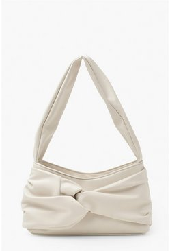 Ivory white Pu Front Knot Underarm Bag
