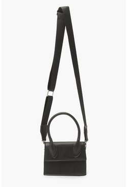 Black Mini Cross Body Bag With Sports Strap