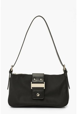 Black Chunky Buckle Zip Up Underarm Bag