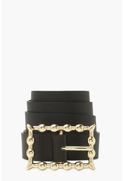 Black Square Bamboo Buckle Pu Belt