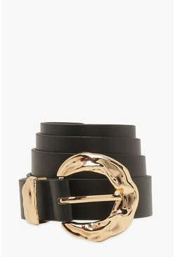 Black Hammered Chunky Round Buckle Belt