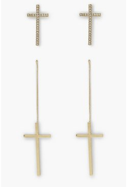 Gold metallic 2 Pack Cross Earrings, Smooth And Diamante