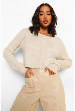 Stone beige Knitted Button Up Cropped Cardigan