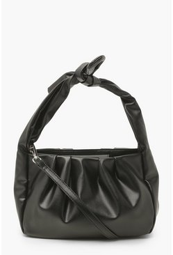 Black Knot Top Handle Cross Body Bag