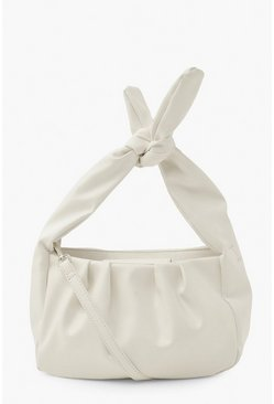 Ivory white Knot Top Handle Cross Body Bag