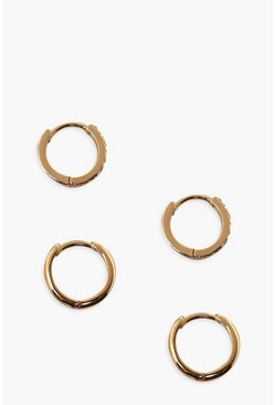 Gold metallic Plain And Diamante Hoop Pack