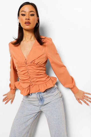 Peach orange Ruched Front Blouse