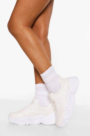 White Quilted Chunky Sports Trainer