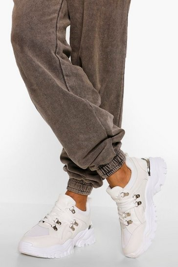 White Hardware Detail Chunky Trainer