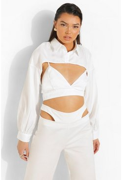 Extreme Crop Shirt & Bralette , Ivory blanco