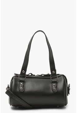 Black Smooth Pu Top Handle Cross Body Bag