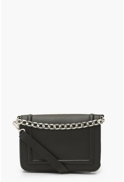 Black Double Chain Strap Cross Body Bag