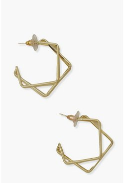 Gold metallic Double Square Abstract Hoop Earrings