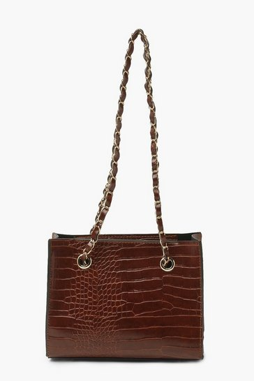 Chocolate brown Pu Croc Mini Tote Bag