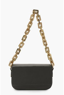 Black Chunky Chain Underarm Bag