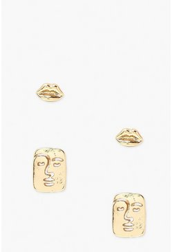 Gold metallic Lips And Face Stud 2 Pack.