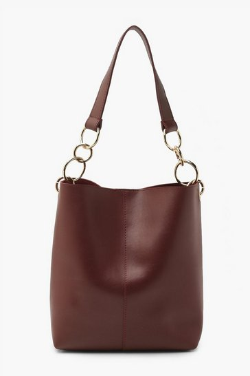 Burgundy red Smooth Pu Tote Bag