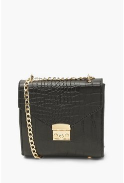 Black Pu Croc Front Buckle Cross Body Bag
