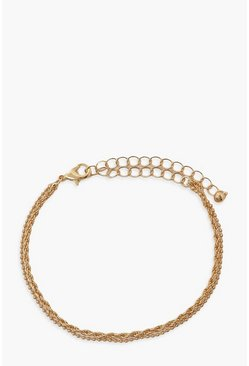 Gold metallic Simple Twist Layered Mini Chain Bracelets