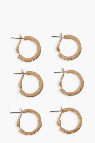 Gold metallic Mix Diamante Stone Hoop Pack