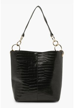 Black Pu Croc Tote Bag