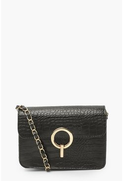 Black Croc Leather And Chain Strap Cross Body Bag